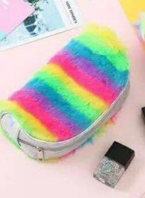کیف رنگین کمونی لوازم آرایش پشمالو
